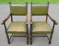 Set of Eight Cromwellian Style Leather Covered Dining Chairs